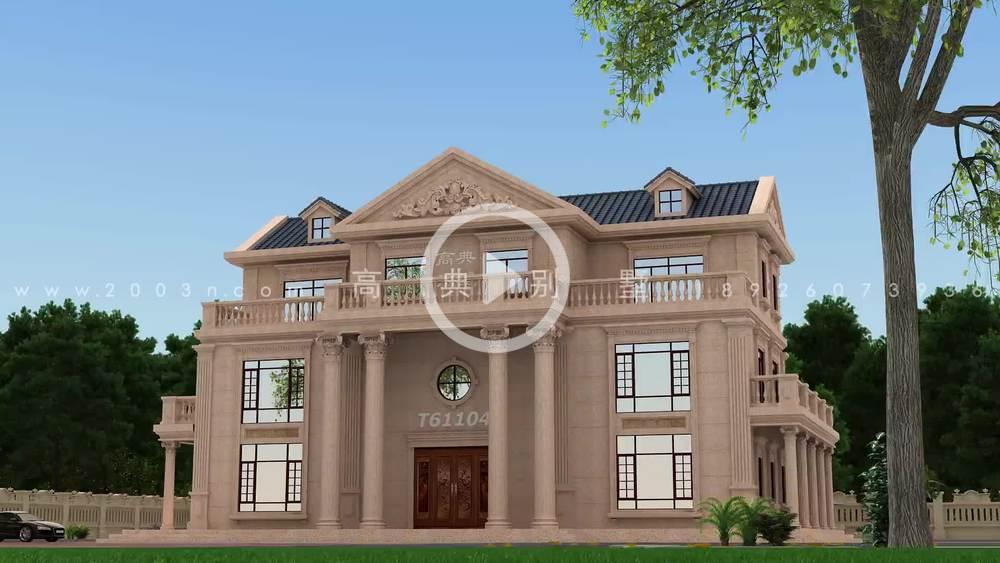欧式风格三层豪宅石材别墅设计效果图