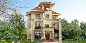 三层农村欧式别墅设计效果图首层134平