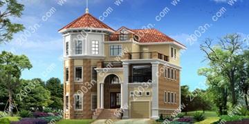 带车库三层别墅设计效果图首层192平方米图纸编号T6952
