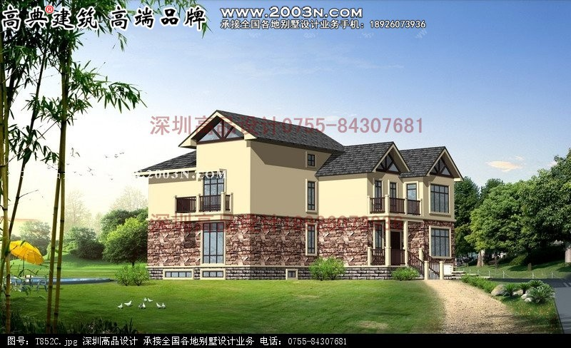 t852号别墅建筑施工图纸/首层面积:200平方米
