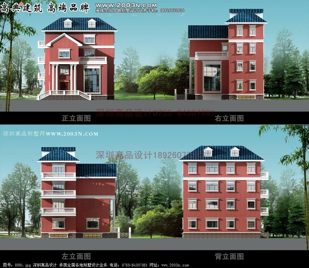 三层楼的豪华欧式别墅外观图