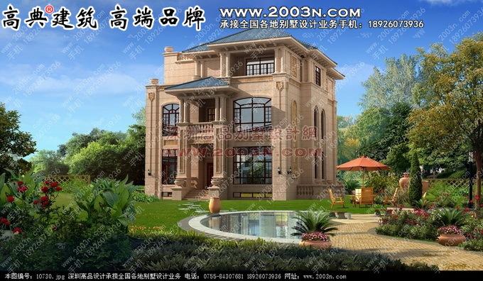 外墙石材别墅干挂石材别墅三层别墅设计效果图高清图片