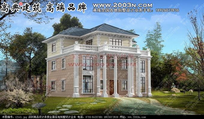 欧式别墅建筑设计图全方位