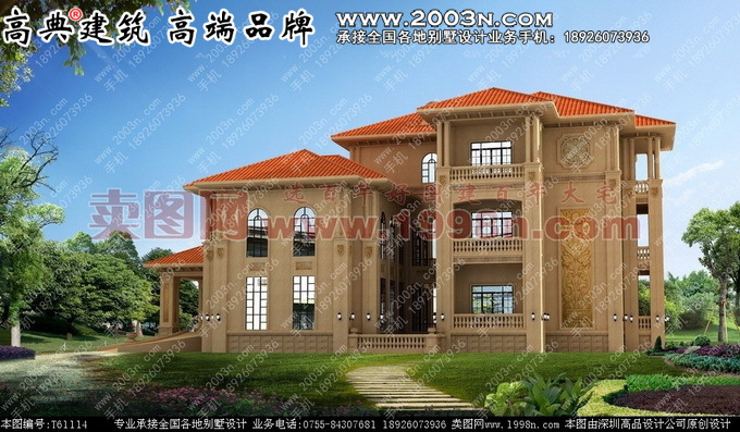 外墙纯石材三层别墅图纸及效果图高清图片