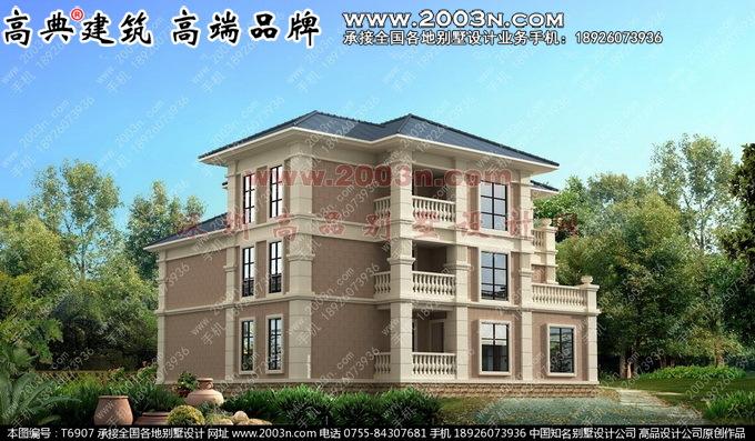 别墅图纸大全 - 法式风格别墅外观设计效果图