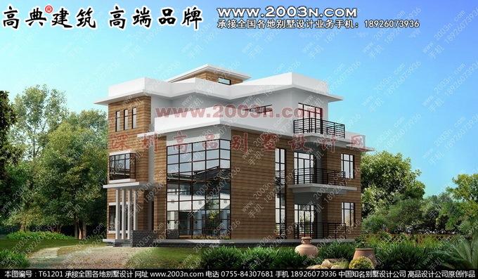 别墅外观效果图外墙石材三层别墅外观效果图
