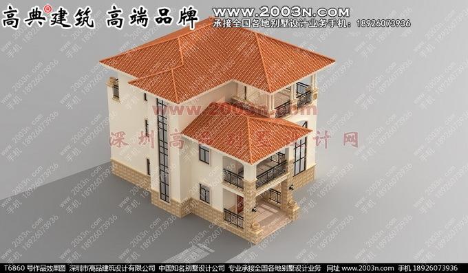 新农村三层别墅外观效果图深圳高品设计T6860号作品实景高清图片