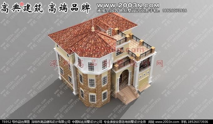 深圳高品設計t6952號別墅實景三層樓房外觀效果圖