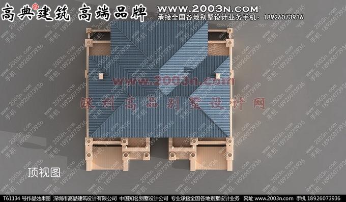 深圳高品设计T61134号三层豪华别墅效果图与实景高清图片