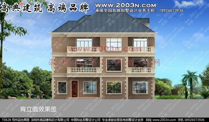 三层大门罗马柱农村别墅设计图建成实景作品号T6828