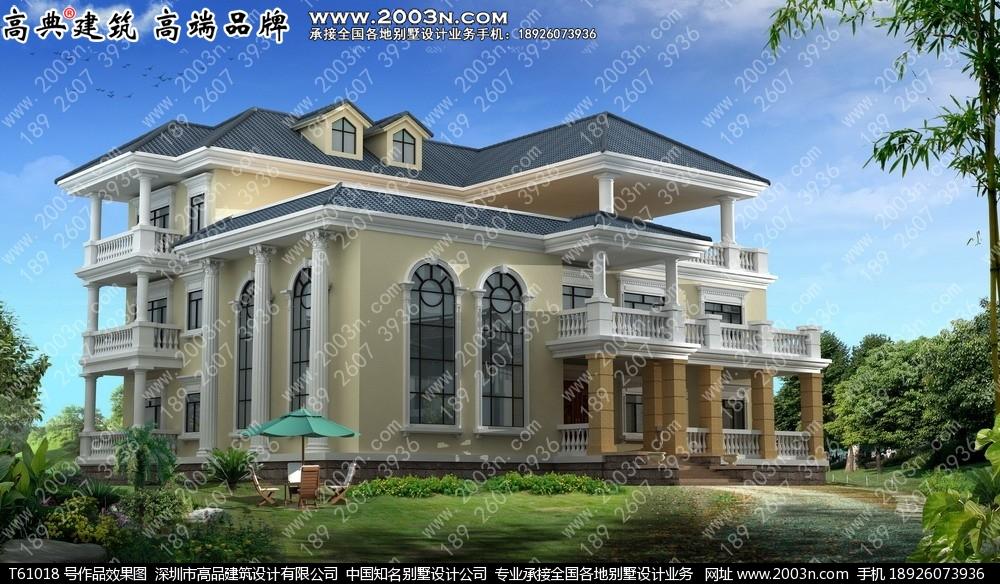 三层欧式豪华大方农村别墅设计图纸t61018号别墅设计