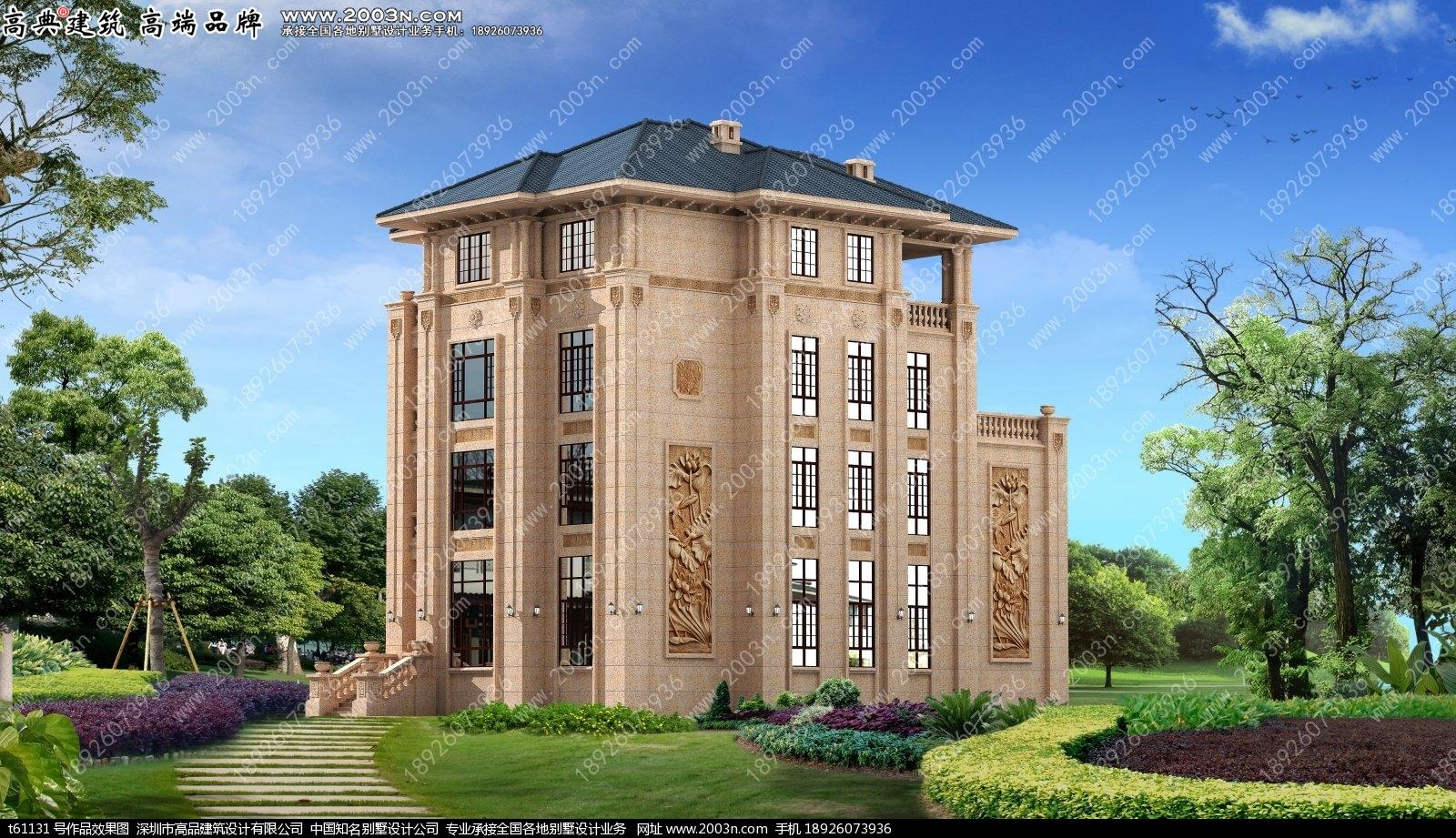 四层超豪华纯石材干挂别墅设计图T61131实景