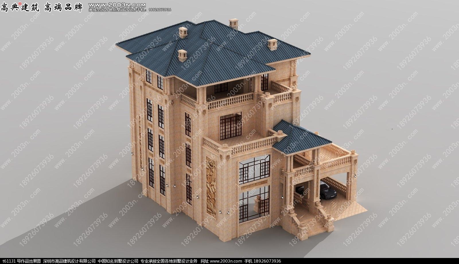 四层超豪华纯石材干挂别墅设计图t61131实景图片