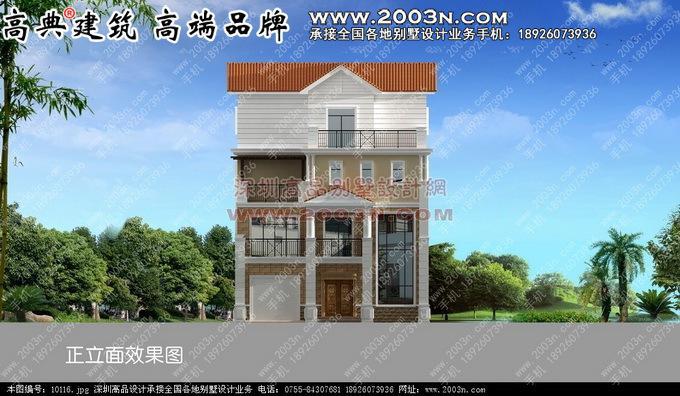 4层独栋别墅设计 - 欧式风格别墅外观设计效果图