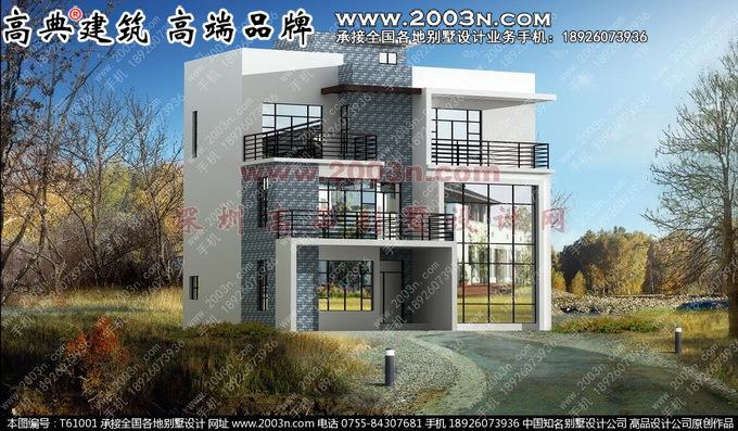 高品原创别墅设计图纸及效果图 三层现代风格别墅效果图 图号:t61001b