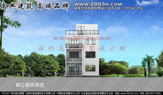 农村现代 三层小别墅两间 楼房设计效果图纸T