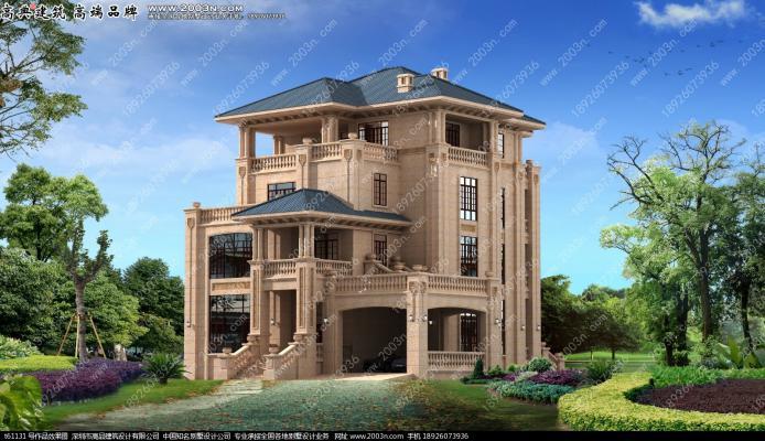 四层超豪华纯石材 干挂别墅设计图 T61131实景